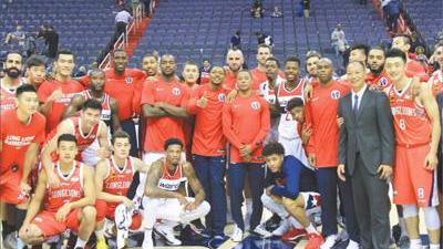 中美篮球交往38年:广州龙狮做客华盛顿奇才主场