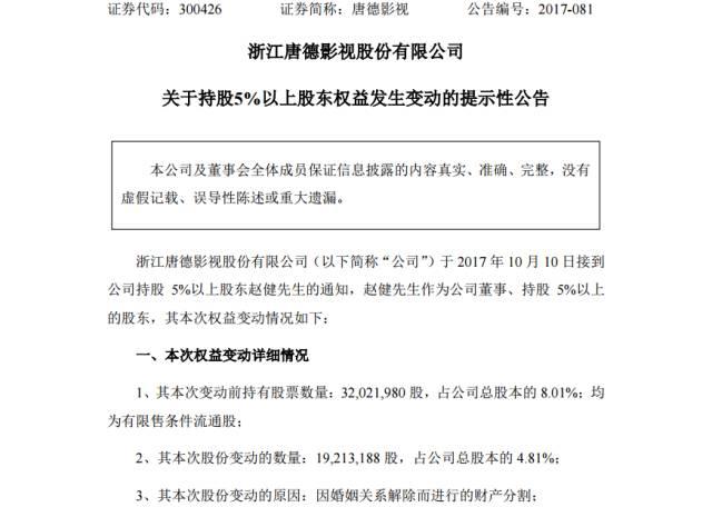 """赵薇兄嫂离婚5亿""""分手费""""只为减持唐德影视?"""