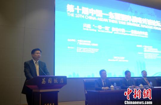 图为广西壮族自治区人民政府副主席黄日波在开幕式上致辞。 蒋雪林 摄
