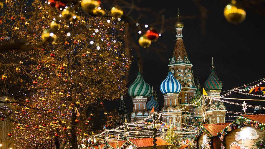莫斯科张灯结彩迎新年