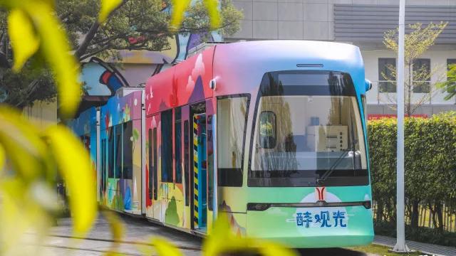 美到爆!全国首列旅游观光有轨电车在广州发!动!了!