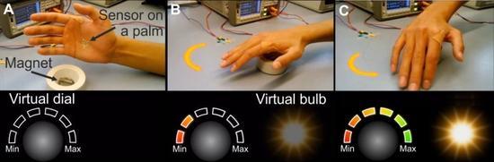 无需接触,这种电子皮肤可让你操纵虚拟物体