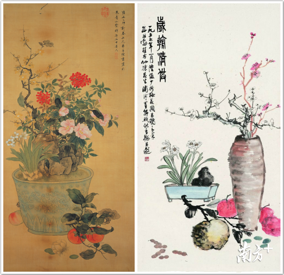 左:清陈书岁朝丽景右:陆俨少岁朝清供|雅昌艺术网