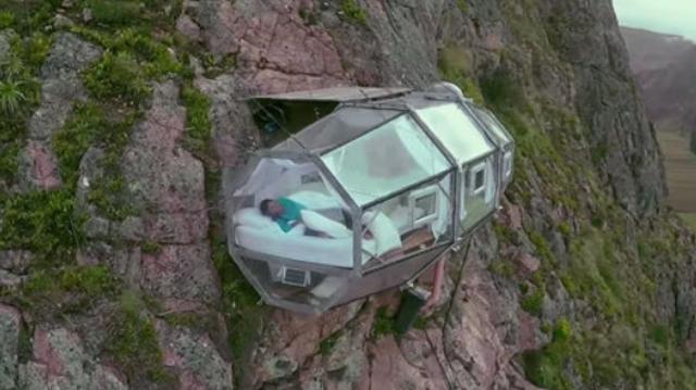 秘鲁悬空旅馆俯瞰壮美山谷 想入住需攀爬数百米