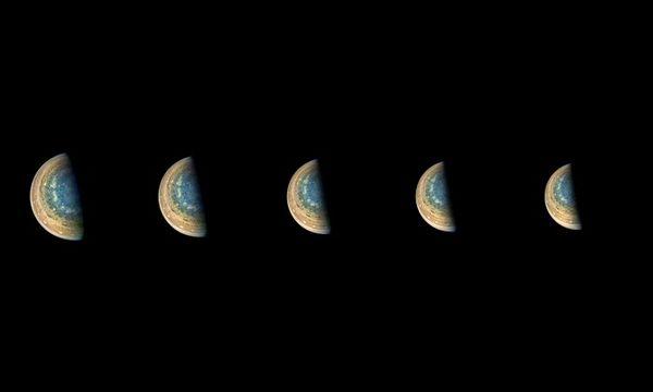 NASA朱诺号捕捉木星南极前所未见的景象