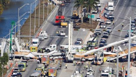 迈阿密一座人行天桥坍塌致4人死亡 搜救仍在继续