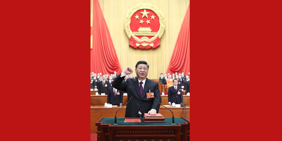 十三屆全國人大一次會議選舉產生新一屆國家領導人 習近平全票當選國家主席中央軍委主席