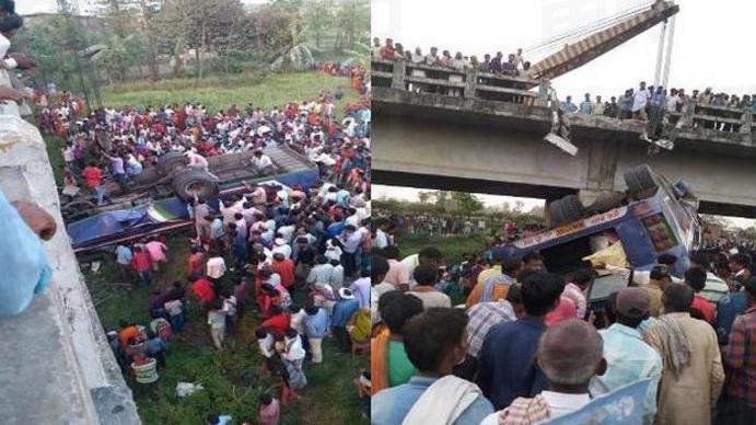 印度一巴士疑因超载超速坠桥 致至少14死45伤