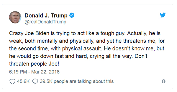 """71岁特朗普与75岁前副总统拜登""""约架"""":你很弱别想揍我"""