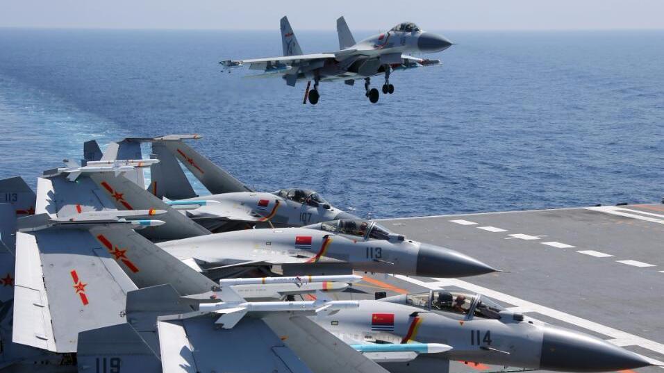 专家:我国舰载航空兵联队初具规模 有近20架舰载机