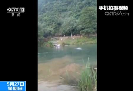 女子驾驶轿车失控冲入河中 路人紧急救助