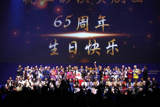 章子怡将拍真人动画 陈冲等道贺上影剧团65周年