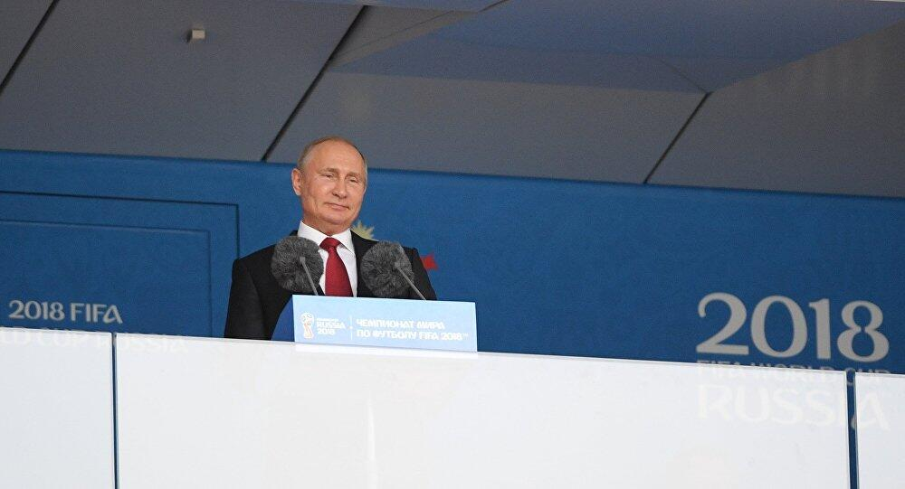 普京把同克罗地亚队比赛的俄罗斯队球员称作英雄