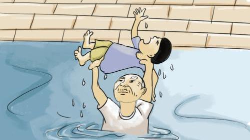 老农跳水塘连救4人:愿拿自己的命去换孩子的命