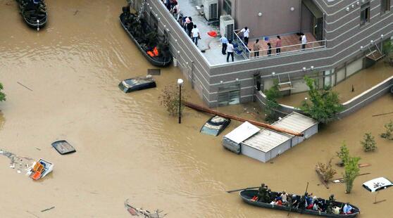 日本大雨招致洪灾 民众:受灾地区一片汪洋