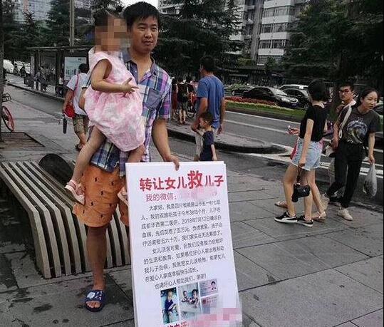 儿子得白血病无力治疗 父亲街头举牌