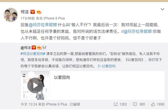 何洁怒怼网友评论:我对所说的话负法律责任