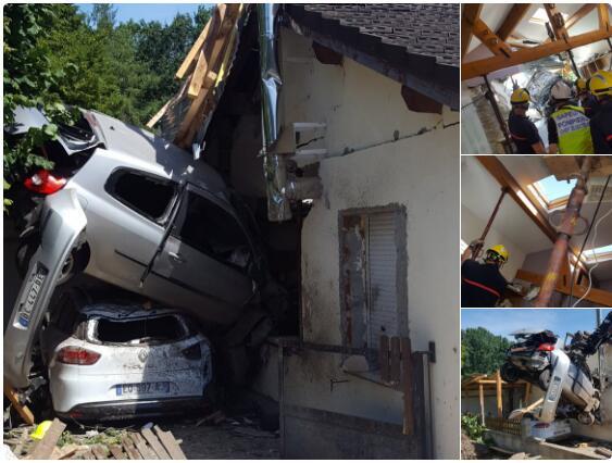 """当飞车来""""敲门"""" 法国民宅被失控汽车一头撞穿"""