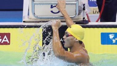 """世界杯新加坡站首日,中国男子游泳""""四小虎""""摘金夺铜"""