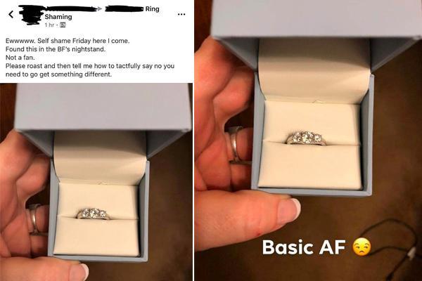 女子嫌弃男友买的求婚戒指太小 网友怒怼:可能不是给你的!