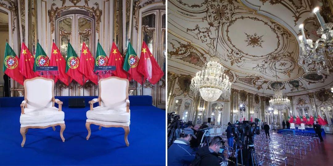 签字仪式和共见记者所在的王座厅。左边是习近平的坐席。(央视记者张晓鹏拍摄)