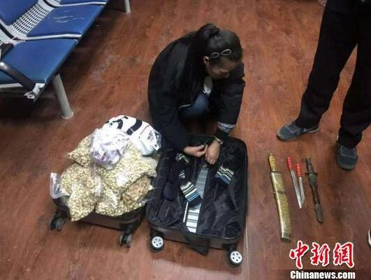 女子行李箱内藏四把长刀 乘火车被大连铁警拘留
