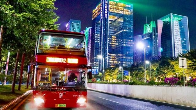 美爆了!坐全景天窗巴士,夜游珠江新城