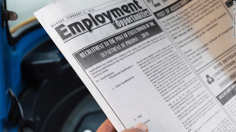 斯里兰卡发布刽子手招聘启事:需要有良好的道德品质 且意志坚定