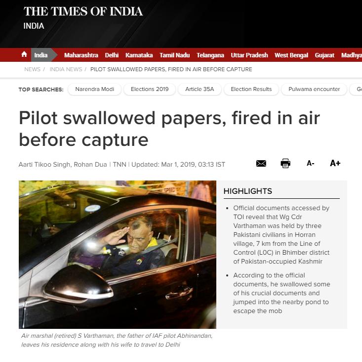 印媒:印飞行员被俘前曾吞秘密文件,朝天开枪