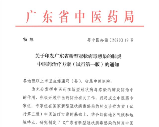 广东省新型冠状病毒感染的肺炎中医药治疗方案(试行版)发布