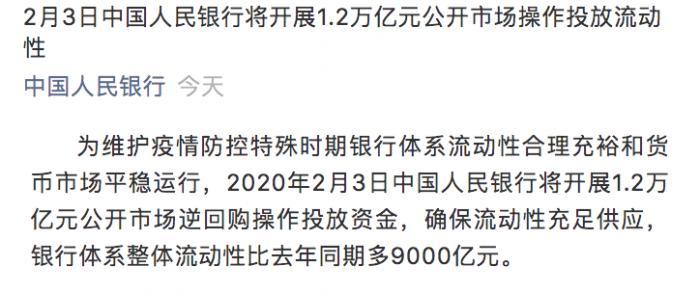 央行明日投放1.2万亿流动性稳市场,迎战疫情是否还需降准+降息?