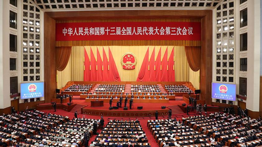 十三屆全國人大三次會議舉行第二次全體會議 習近平等黨和國家領導人出席