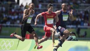 男子百米预赛苏炳添、谢震业两人晋级创历史